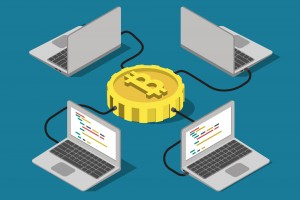 Bitcoin network connection online mining  flat 3d isometry isometric concept web infographics vector illustration. Laptop computer connected to bit coin. Creative people collection.
